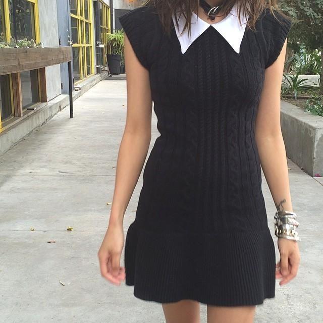 rochie neagra tricotata