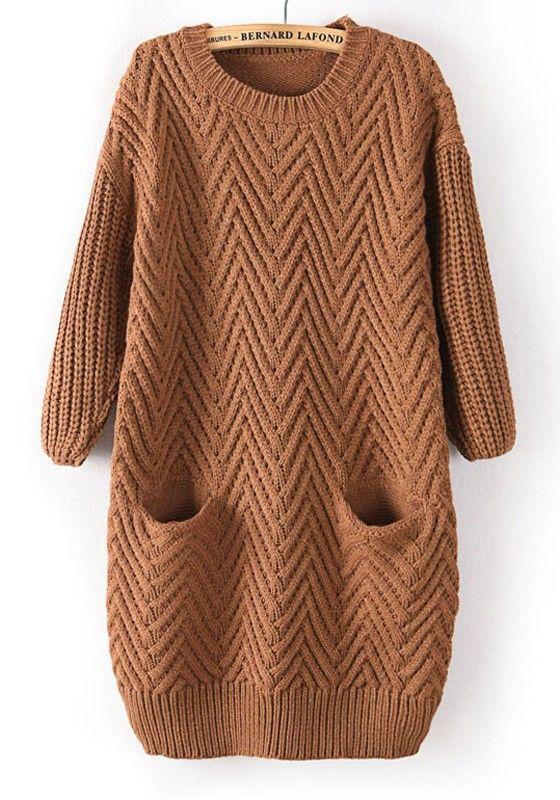 rochie tricotata maro